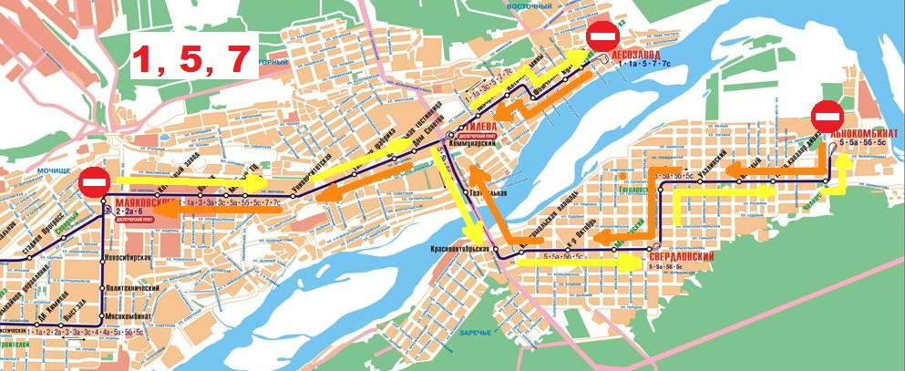 С 27 по 28 июня с 8 вечера и до 6 утра движение трамваев 1, 5, 7 будет закрыто. Бийск