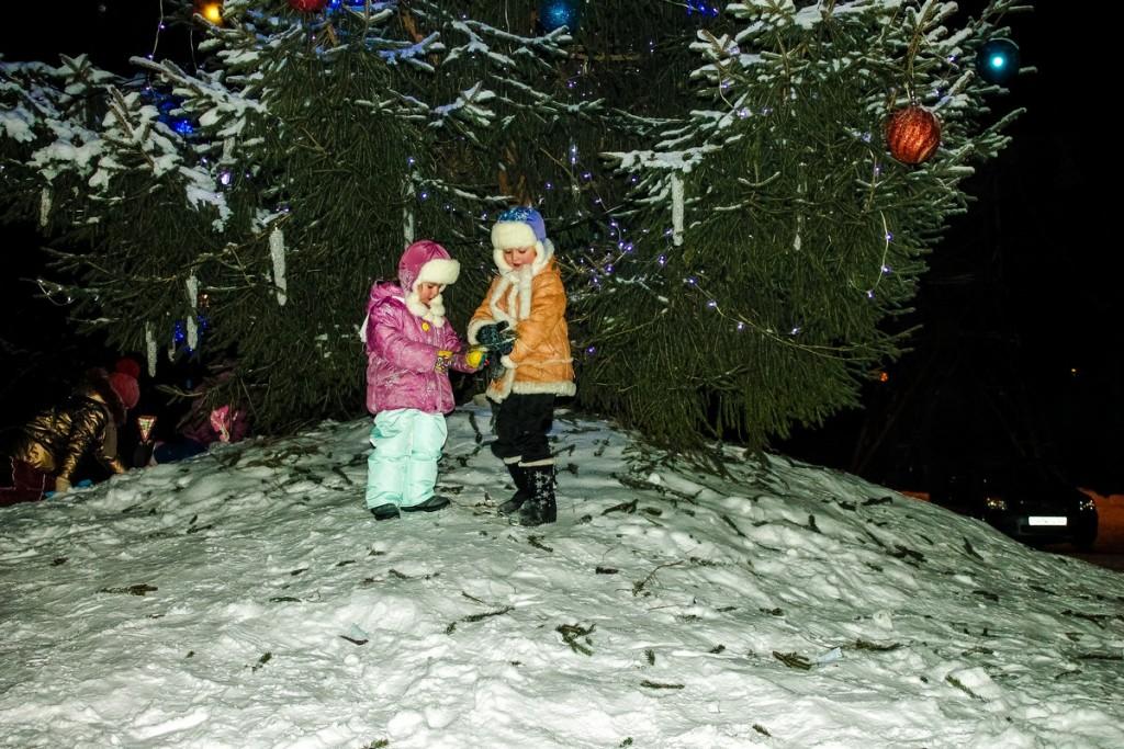 Фото новогодней елки у ДК БОЗ в Бийске