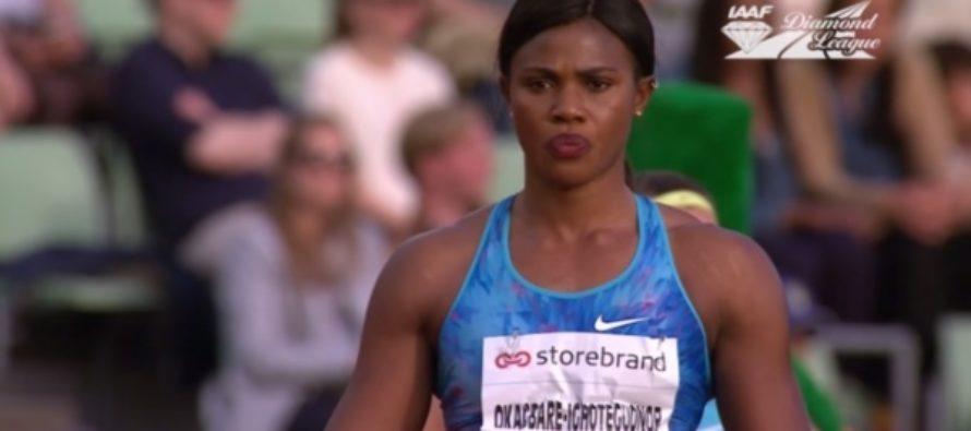 Нигерийская легкоатлетка потеряла парик во время прыжка. Видео