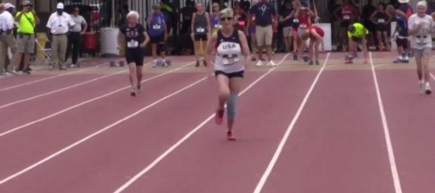 82-летняя американка пробежала стометровку за 22 секунды. Видео