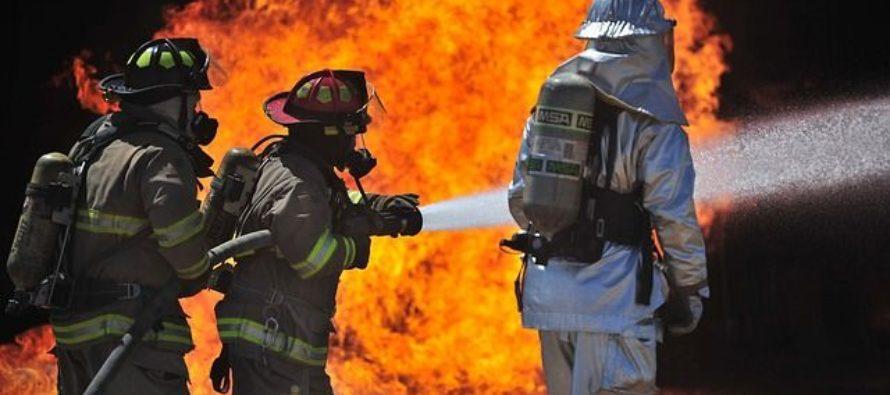 10 пожарных тушили автомобиль Renault в Барнауле